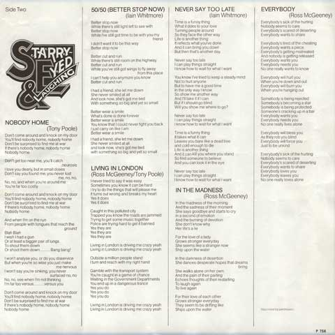 Starry Eyed & Laughing: 1st LP Lyric Sheet Side 2
